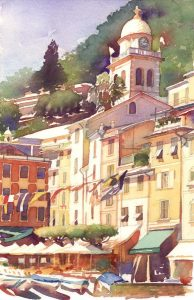 Piazza Del Campanile - watercolor landscape painting of italian scene by Frank Costantino