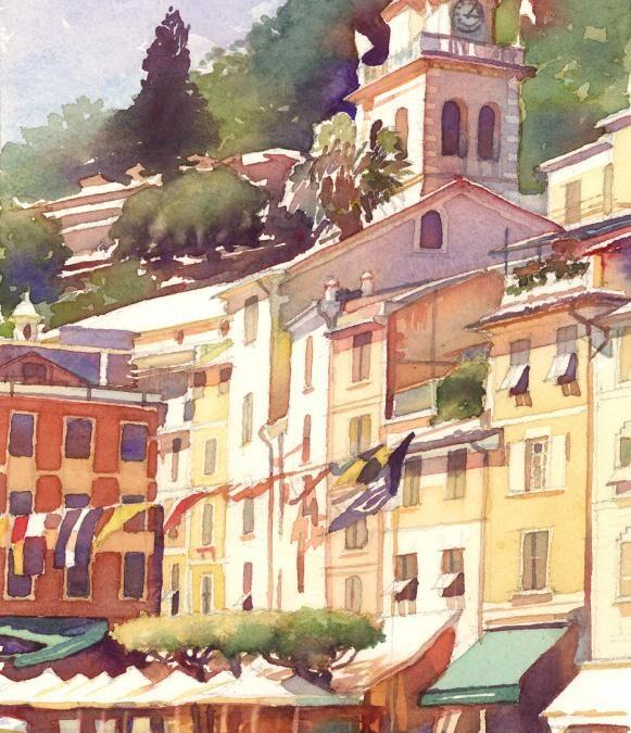 Piazza Del Campanile – watercolor landscape painting of italian scene