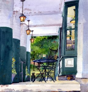 Pickin' Up Lunch- Powers Market - en plein air watercolor landscape building painting by Frank Costantino
