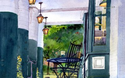 Pickin' Up Lunch- Powers Market – en plein air watercolor landscape building painting by Frank Costantino