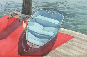 Piered Tender - watercolor maritime painting of boat and water by Frank Costantino
