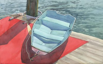 Piered Tender – watercolor maritime painting of boat and water