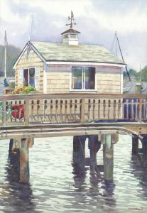 Pilot House- HYC - en plein air watercolor seascape maritime painting by Frank Costantino