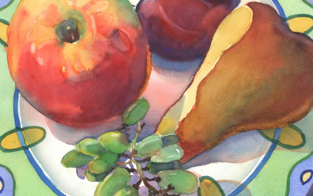 Plated Fruit Study - watercolor still life painting by Frank Costantino