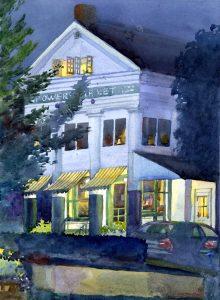 Porch Light Study- Powers Market - en plein air watercolor landscape building painting by Frank Costantino
