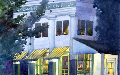 Porch Light Study- Powers Market – en plein air watercolor landscape building painting