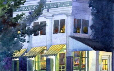 Porch Light Study- Powers Market – en plein air watercolor landscape building painting