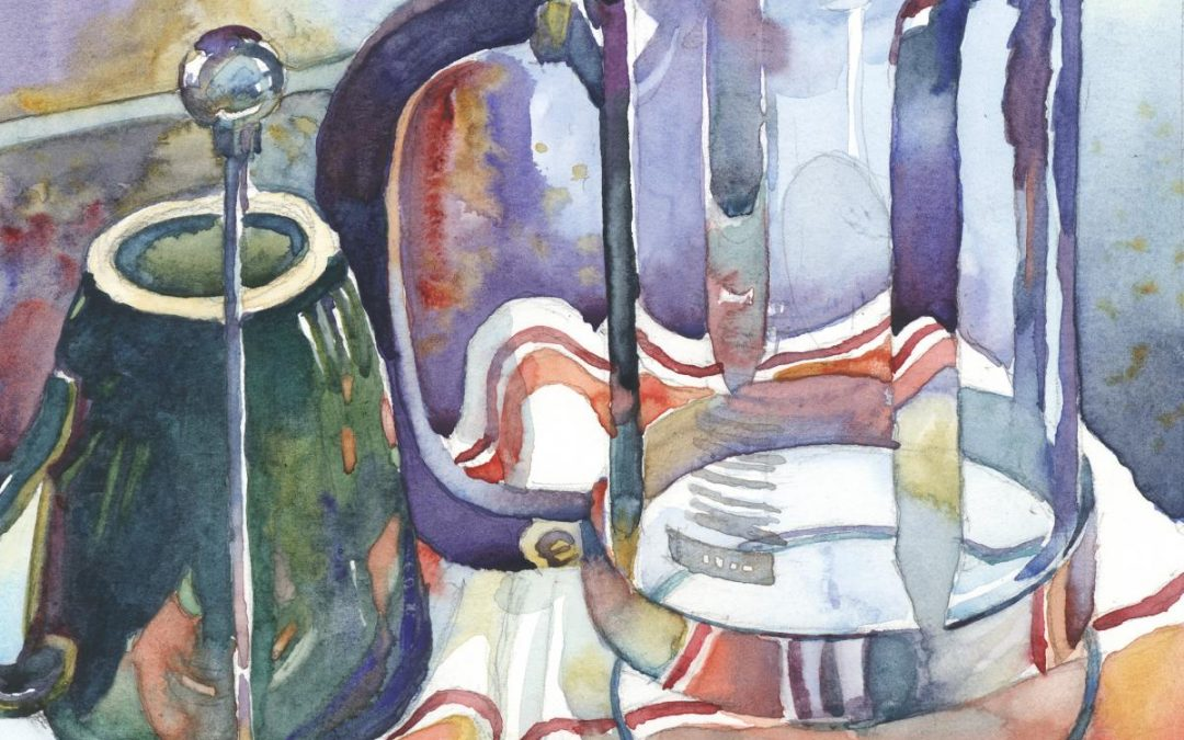 Post-Caffeinated – watercolor still life painting