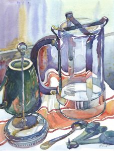 Post-Caffeinated - watercolor still life painting by Frank Costantino