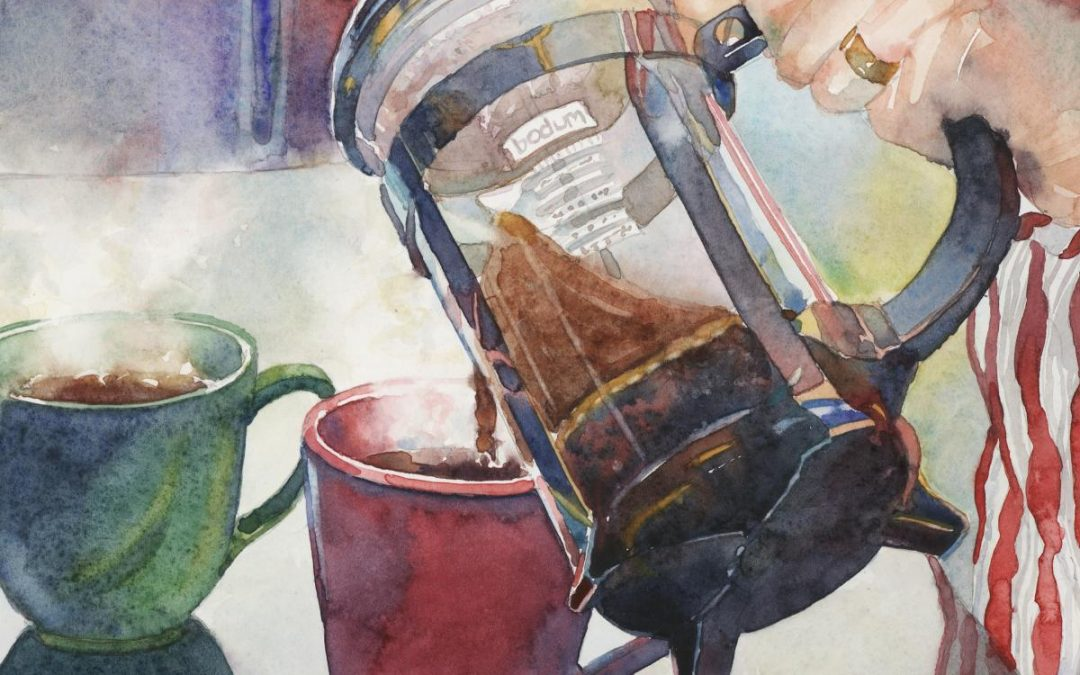 Pre- Caffeinated – watercolor still life painting