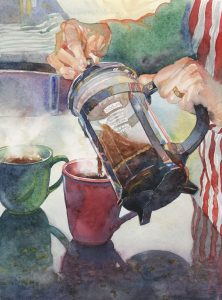Pre- Caffeinated - watercolor still life painting by Frank Costantino
