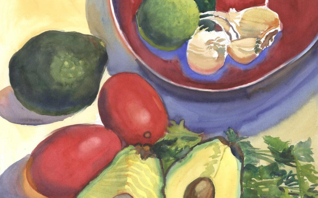 Pre- Guacamole – watercolor still life painting