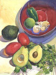 Pre- Guacamole - watercolor still life painting by Frank Costantino