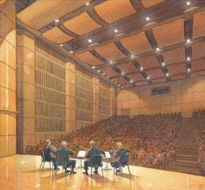 Quartet on Stage - watercolor architectural illustration interior by FrankCostantino