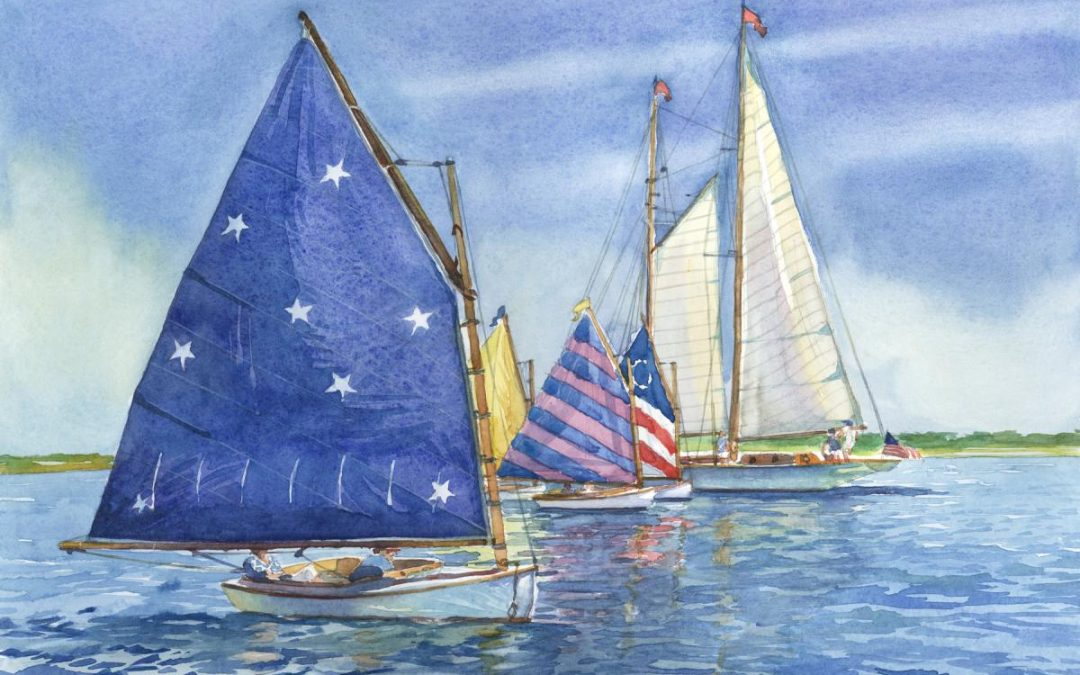 Rainbow Fleet Nantucket – en plein air watercolor seascape maritime painting