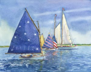 Rainbow Fleet Nantucket - en plein air watercolor seascape maritime painting