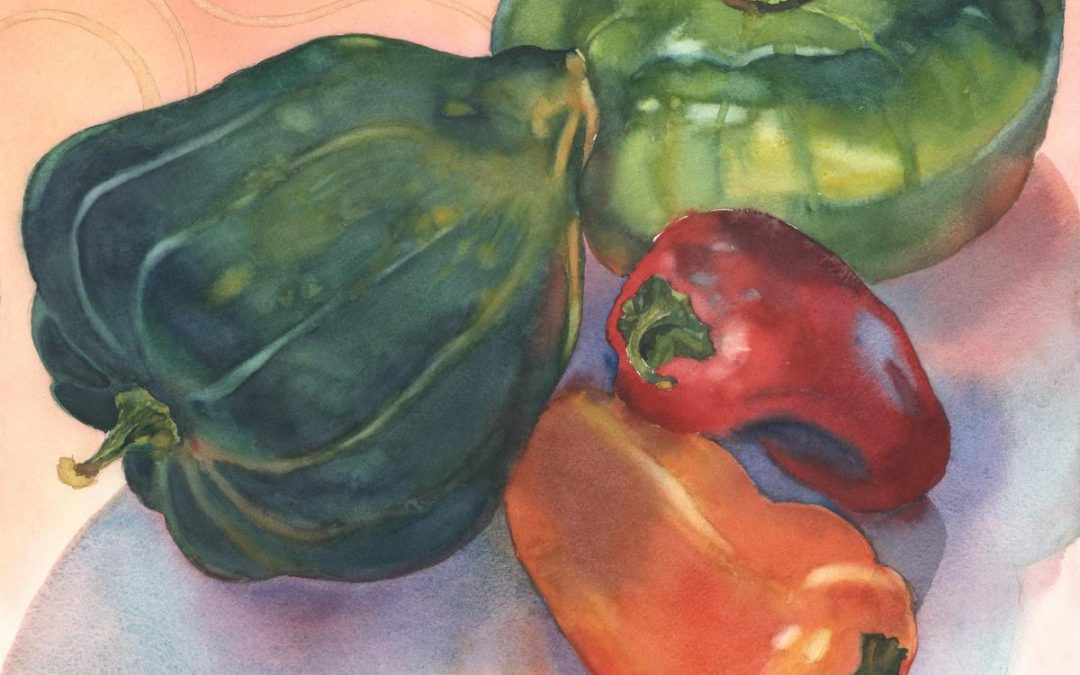 Ratatouille Quartet – watercolor still life painting