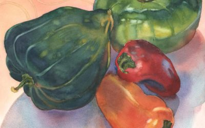 Ratatouille Quartet – watercolor still life painting