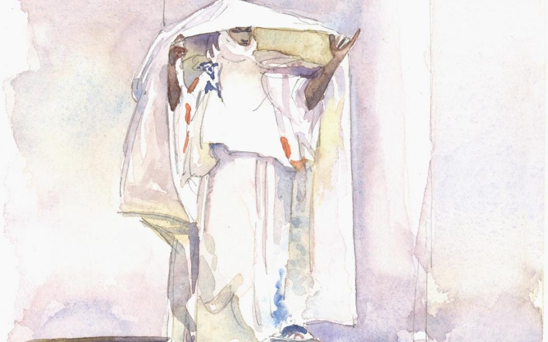 Revisiting the Veil- After Sargent – watercolor figure painting