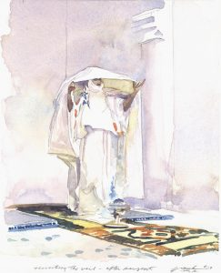 Revisiting the Veil- After Sargent - watercolor figure painting by Frank Costantino