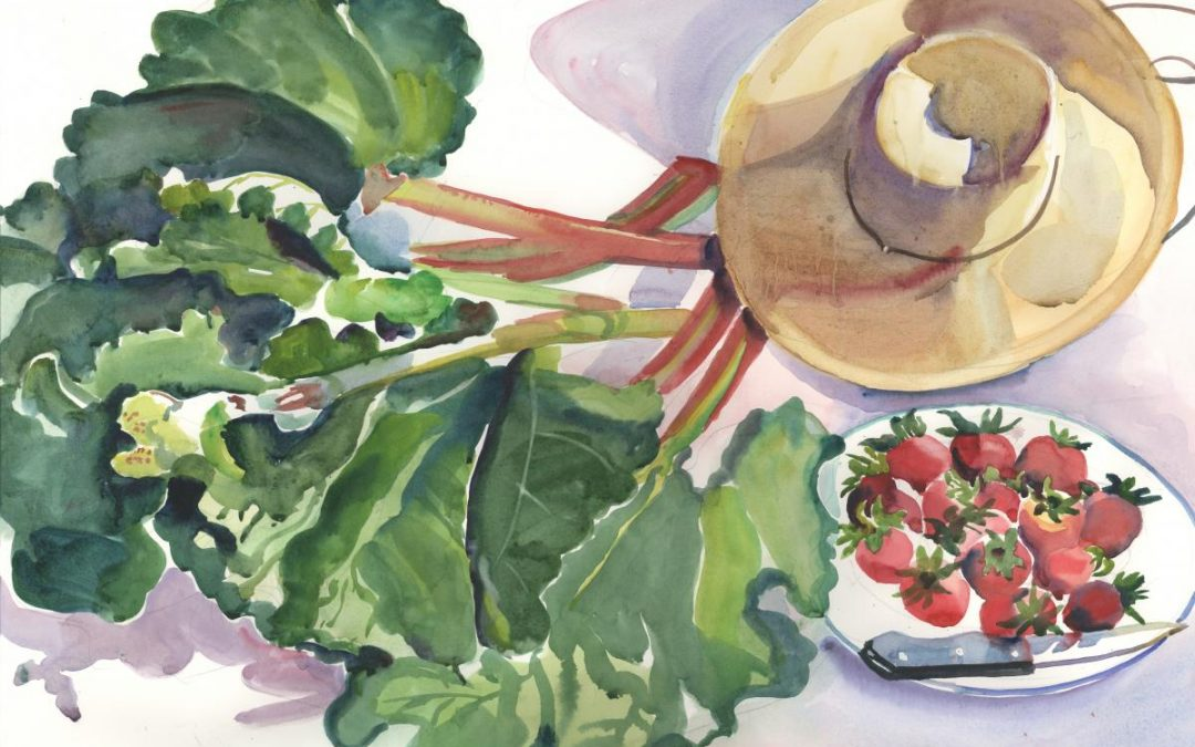 Rondo in Rhubarb and Berries – watercolor still life painting