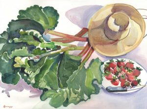 Rondo in Rhubarb and Berries - watercolor still life painting by Frank Costantino
