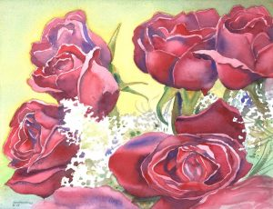 Rose Sextet - watercolor floral painting by Frank Costantino