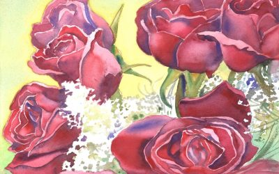 Rose Sextet – watercolor floral painting
