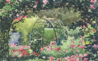 Roses Morning Rondo -en plein air watercolor landscape floral painting
