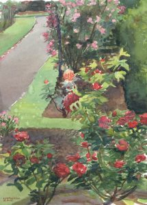 Rosey Pathway - en plein air watercolor landscape floral painting by Frank Costantino