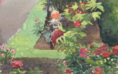 Rosey Pathway – en plein air watercolor landscape floral painting