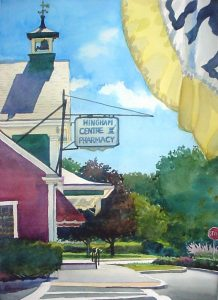 Saturday's Shadow- Centre Pharmacy - en plein air watercolor landscape building painting by Frank Costantino