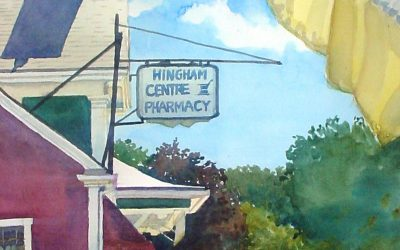 Saturday's Shadow- Centre Pharmacy – en plein air watercolor landscape building painting by Frank Costantino