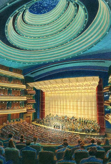 Schuster Performing Arts Center, Symphonic Concert Hall – colored pencil architectural illustration rendering