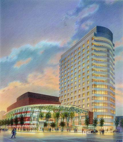 Schuster Performing Arts Center, Dayton, OH – colored pencil architectural illustration rendering