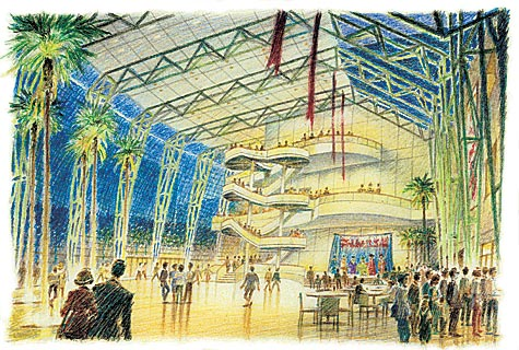 Schuster Performing Arts Center Galleria Design Development – colored pencil architectural illustration rendering