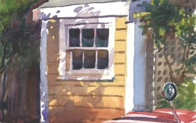 Sconset '57 Willys – en plein air watercolor landscape painting