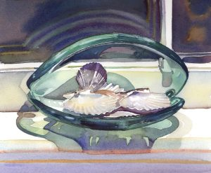 Shimmering Shells on Shelf - watercolor still life painting with sea shells by Frank Costantino