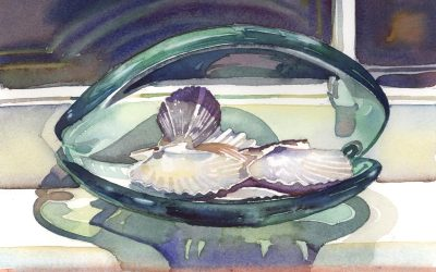 Shimmering Shells on Shelf – watercolor still life painting with sea shells