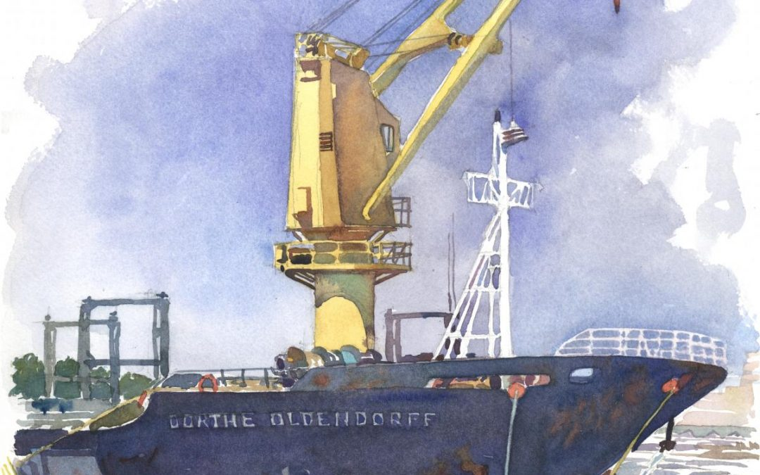 Ship Dorthe – en plein air watercolor seascape painting of boat
