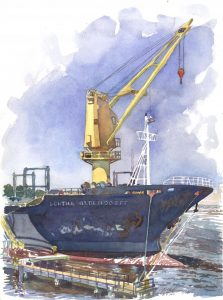 Ship Dorthe - en plein air watercolor seascape painting of boat by Frank Costantino