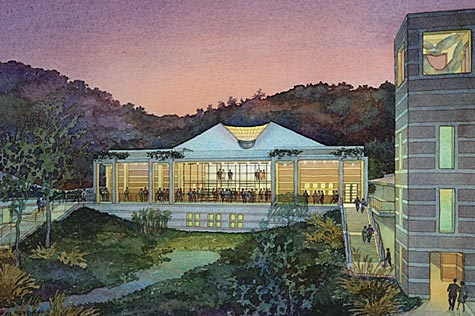 Skirball Cultural Center, Los Angeles, California - watercolor architectural illustration rendering by Frank Costantino