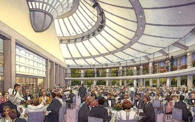 Skirball Cultural Center – Interior View, Los Angeles, California – watercolor architectural illustration rendering