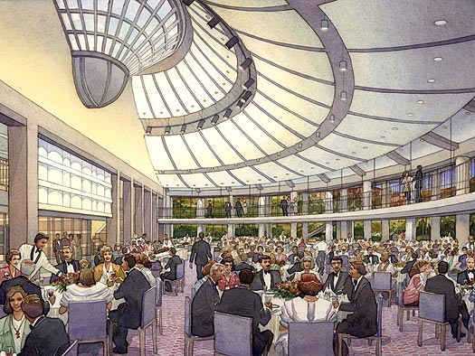 Skirball Cultural Center - Interior View, Los Angeles, California - watercolor architectural illustration rendering by Frank Costantino