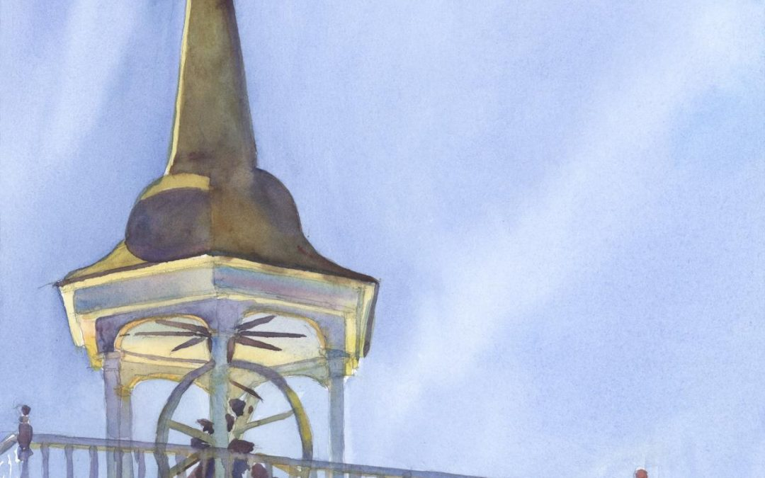 Snow Steeple- Early Spring - en plein air watercolor landscape painting of church building by Frank Costantino