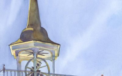 Snow Steeple- Early Spring – en plein air watercolor landscape painting of church building