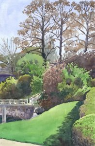 Spring Sunscape - en plein air watercolor landscape painting by Frank Costantino