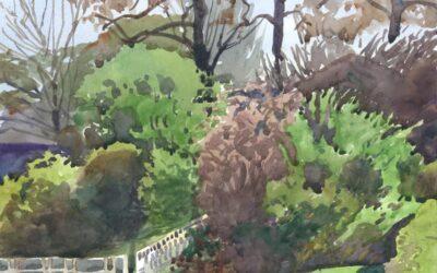 Spring Sunscape – en plein air watercolor landscape painting