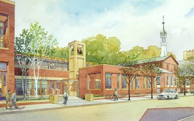 St. Thomas Moore Catholic Student Center – watercolor architectural illustration rendering