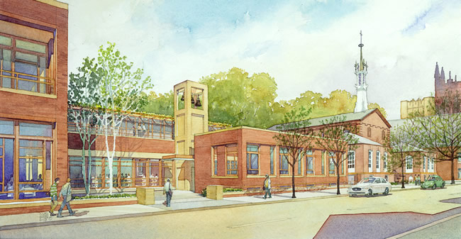 St. Thomas Moore Catholic Student Center - watercolor architectural illustration rendering by Frank Costantino
